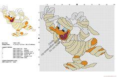 Disney Donald Duck mummy free Halloween cross stitch pattern 98x87