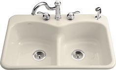"Kohler K-6626-5 hole Langlade 33"" Double Basin Top-Mount Enameled Cast-Iron Kitchen Sink with Smart Divide $554.78 @ FaucetDirect.com. 2-3 weeks delivery"