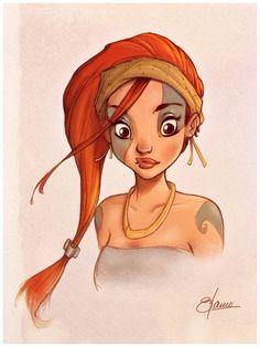 Indigenous Girl / Indigena - Art by Christian Blanco . Character Illustration