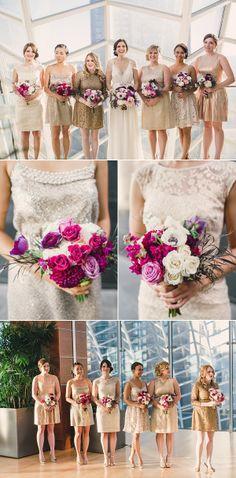 Glittery Bridesmaids - See the wedding on Style Me Pretty: http://www.stylemepretty.com/little-black-book-blog/2014/03/13/gold-sparkly-kimmel-center-wedding/ Lauren Fair Photography | Floral Design: Sullivan Owen