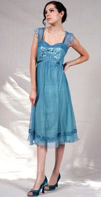 40106 Nataya Empire Doll Dress in Turquoise