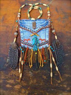 custom make DENIM medicine bag tribal american INDIAN medicine bag with FEATHER charm turquoise suede leather beaded necklace Estilo Hippie, Hippie Chic, Hippie Style, Boho Chic, Hippie Party, Jean Crafts, Denim Crafts, Hippie Bags, Boho Bags