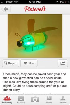This is the firefly craft that I will do with grandkids at some point. Fireflies can be used as decorations in trees at dinner celebration.