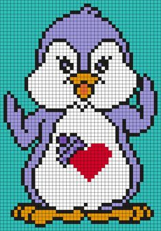 Discover thousands of images about Cozy Heart Penguin (Care Bear Cousin) Square by Maninthebook on Kandi Patterns Pony Bead Patterns, Kandi Patterns, Peyote Stitch Patterns, Perler Patterns, Beading Patterns, Graph Crochet, Pixel Crochet, Cross Stitching, Cross Stitch Embroidery