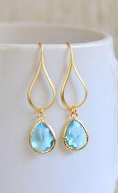 Gold Aquamarine Drop Earrings. Aquamarine Teardrop Drop Earrings