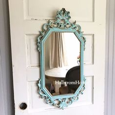 """This shabby painted mirror was custom made for those that love unique beauty. I created this with a lovely aqua Blue color in my signature style. Measures 31"""" x 16"""" INSURANCE IS PROVIDED We Provide Ex"""