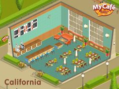 California, American Retro Style, My Cafe Game Game Loft, Cafe Style, Cooking Games, Cafe Design, Retro Style, New Recipes, California, Cartoon, 3d