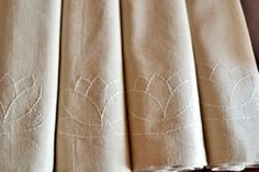 Linen Blend Placemats with Sashiko Embroidery - Handmade Beige Cloth Placemats