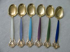 Th Marthinsen NORWAY Sterling Silver Enamel Large demitasse Spoon SET Box #5127