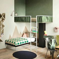 Love the paint job on these bunk beds. That top bunk feels like a completely different room! Excellent idea to make a kids room feel bigger.and give them a treehouse :) by Cool Bunk Beds, Kids Bunk Beds, Loft Beds, Amazing Bunk Beds, Bunkbeds For Small Room, Bunk Bed Ideas For Small Rooms, Unique Bunk Beds, Unique Kids Beds, Bunk Bed Designs