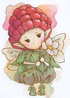 Open Edition ACEO Print - Whimsical Raspberry Sprite - Cute Little Fruit Fairy - Fantasy Art by Mitzi Sato-Wiuff