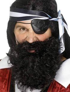Pirate Black Nylon Beard by Angels - Angels Fancy Dress Costumes