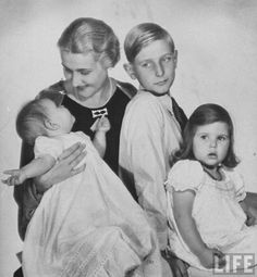 Magda Goebbels with her children - Harald, Helga, and baby Hildegard