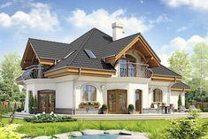 Zdjęcie projektu Dzierlatka III styl z garażem [A] WRF House Plans Mansion, Duplex House Plans, Bungalow House Design, Modern House Design, Home Building Design, Building A House, 4 Bedroom House Designs, Modern Bungalow House, Beautiful House Plans