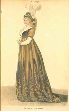 Fashions of London and Paris, French Full Dress, May 1798. What lovely and unusual colors!