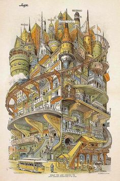"""Grant E. Hamilton, """"What We Are Coming to: Judge's Combination Apartment-house of the Future,"""" from Judge Magazine, Feb. 16 1895."""