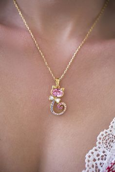 Cute Cat 18K  Gold Necklace , Gold Animal Necklace, Crystal Cat Pendant , Gold Pendant , Layering Necklace, Crystal Cat Pendant Engagement Gifts, Gold Pendant, Ear Piercings, Fashion Necklace, Valentine Gifts, Layering, 18k Gold, Jewelry Box, Jewelry Design