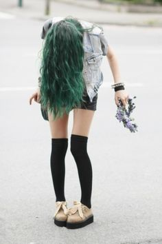 green hair and edgy look