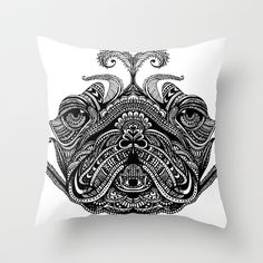Henna of Pugly Throw Pillow by Huebucket - $20.00