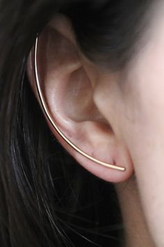 Visibly Interesting: Minimalist long bar ear cuff. For the right or left ear, in 14k Gold fill or Sterling Silver.