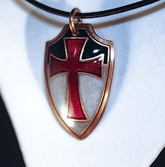 Templar knight shield pendant in pure copper by skrocki on Etsy, $73.00