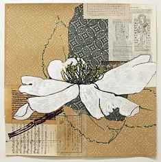 "iamjapanese: "" Robert Kushner(American, White Camellia 2012 acrylic and collage on paper Camellia-Appleblossom II 2012 acrylic and collage on paper Venus 2012 Acrylic Polymer, Gold Leaf, Ink,. Art Floral, Art Du Collage, Mixed Media Collage, Altered Books, Altered Art, Robert Kushner, Acrylic Painting Flowers, Inspiration Art, Watercolor Artists"