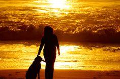 Watching sunset ..davenport beach near Santa Cruz. Riley and I