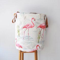 XXLarge Round Flamingo Laundry Hamper, Laundry Basket, Toy Storage, Nursery Fabric Basket, Storage Bin, Toy Basket, Nursery Storage