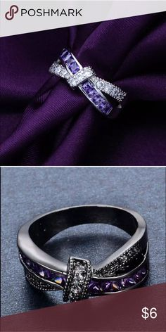 Ladies ring Genuine Purple Amethyst Gemstone Ring Sterling Silver Indian Fashion size 8 Jewelry Rings