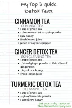 Which Detox Tea works best? My Top 7 Homemade Detox Teas Which Detox Tea works best? Detox Tee, Detox Tea Diet, Jus Detox, Liver Detox Cleanse, Body Detox, Detox Foods, Face Detox, Juice Cleanse, Natural Detox Cleanse