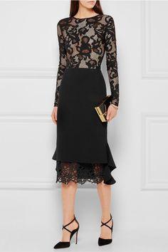 Oscar de la Renta | Crocheted lace-trimmed wool skirt | NET-A-PORTER.COM