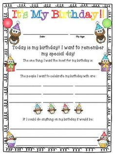 FREEBIE:  A birthday celebration for your students in color and B&W.