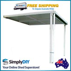 ABSCO PATIO VERANDAH AWNING COVER COLORBOND SHED - 3M X 3M X 3M - WOODLAND GREY
