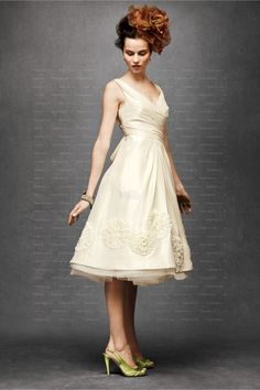 Ivory A-line V-neck Satin Hand Made Flower Knee-length Wedding Dress at Millybridal.com