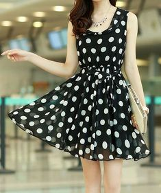 $10.30 Chic Style Ruffled Polka Dot Print Sleeveless Chiffon Dress For Women