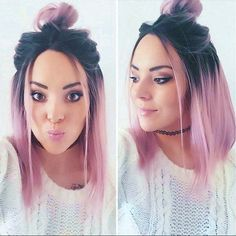 trendy mid-length hair colors New Hair Color Ideas Ombre Hair Color, Purple Hair, Pink And Black Hair, Pink Wig, How To Ombre Hair, Green Hair, Black Hair With Color, Fun Hair Color, Violet Hair Colors