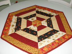 Fall Leaves & Pumpkins Quilted Table Topper by countrysewing4U