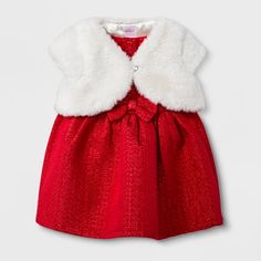afc7d97e57ed Baby Girls' 2pc Faux Fur Shrug and Jacquard Dress Set - Cat & Jack™ Red