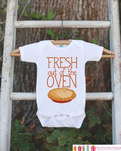 This adorable Thanksgiving onepiece is a perfect way to celebrate your baby's first Thanksgiving! It is just waiting to be worn by the little one in your life! Our graphics are professionally printed