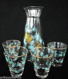 Vintage Mid Century Libbey Glass Set David Douglas Fir Pitcher Low Ball Tumblers   eBay