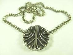 Silber-Collier-Vintage-60er-70er-Modernist-Halskette-Boho-Kette-W72-N4