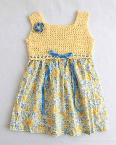 Picture of Cross Stitch Sundress Crochet Pattern [ This darling sundress is a delight to crochet! The pattern includes 4 different child sizes and complete instructions. Maggie recommends using Aunt LydiaMaggie's Crochet · Cross Stitch Sundress Croc Crochet Fabric, Thread Crochet, Knit Crochet, Crochet Patterns, Crochet Girls, Crochet Baby Clothes, Crochet For Kids, Crochet Dresses, Sundress Pattern