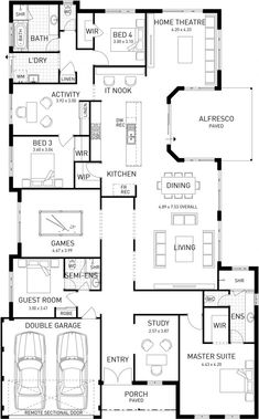 Australis, Single Storey Home Design Master Floor Plan, WA switch game room with theater House Layout Plans, Family House Plans, Dream House Plans, House Layouts, House Floor Plans, Home Design Floor Plans, Plan Design, Storey Homes, House Blueprints