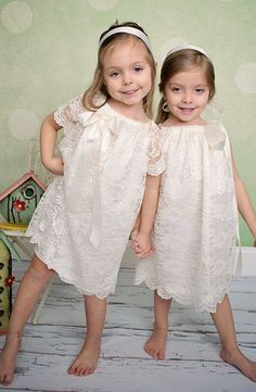 cbe0ffa5b83 Ivory lace peasant dress with detachable bow by LaylaRaesBoutique