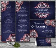 Coral + Navy Wedding Templates from Sasafras Printables! These are drop dead gorgeous!
