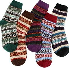 online shopping for YZKKE Womens Vintage Winter Soft Warm Thick Cold Knit  Wool Crew Socks 83d0e0a78