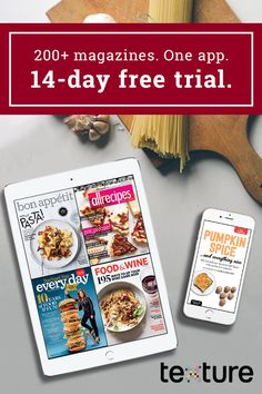 A smorgasbord of delicious content. Texture gives you unlimited access to over 200 of the world's best magazines in a single app. Start a free trial to find recipes, plan menus, and learn how from 22 top food and drink titles. Ready to skip the magazines aisle and use your savings on some bubbly or caviar?