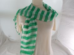 "Vintage Green & White Striped Semi-Sheer Oblong Scarf, Unused NOS 9"" x 61"" by Dockb30Crafts on Etsy"