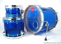 GORGEOUS!!!    Blue Hybrid Custom Drum Set from Stauffer Percussion http://staufferpercussion.com/blue-on-blue-some-more-phattie-hybrid-action/#
