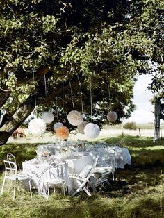 Une façon simple de relever le décor de votre cour arrière le temps d'une soirée de fête, c'est d'op... - Photo Pinterest